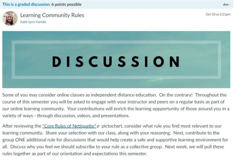 Netiquette Learning Community Discussion